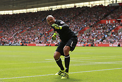 13 August 2016 - Premier League - Southampton v Watford - Watford goalkeeper Heurelho Gomes celebrates the opening goal - Photo: Marc Atkins / Offside.