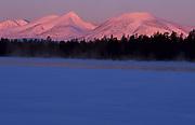 Mountain scenery, Mount Rendalssolen, Isterfossen, moonlight, pink glowing sky