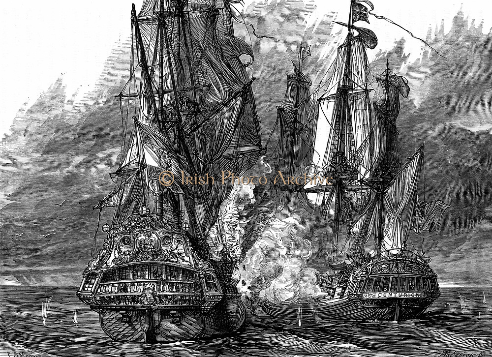 George Anson, Baron Anson (1697-1762) English naval commander, in the 'Centurion' (right) taking the Spanish galleon 'Nostra Signora de Cabadonga' off the Philippines. War of Jenkins' Ear 1739-48. Woodcut c.1895