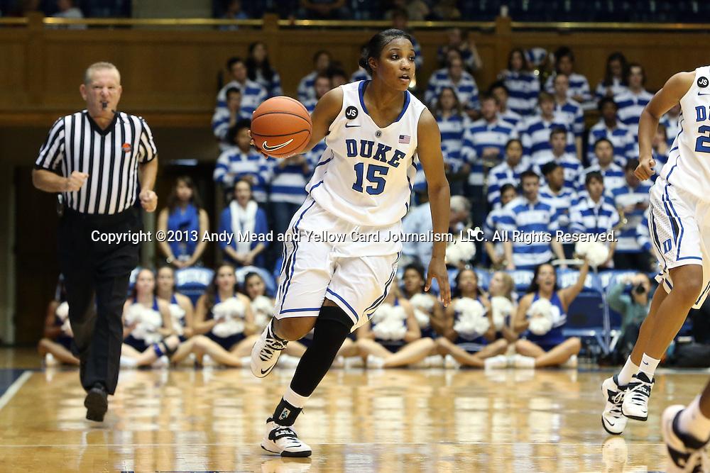 17 November 2013: Duke's Richa Jackson. The Duke University Blue Devils played the University of Alabama Crimson Tide at Cameron Indoor Stadium in Durham, North Carolina in a 2013-14 NCAA Division I Women's Basketball game. Duke won the game 92-57.