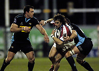 Photo: Jed Wee.<br /> Leeds Tykes v Bristol Rugby. Guinness Premiership. 10/02/2006.<br /> <br /> Bristol's Bernardo Stortoni is tackled.