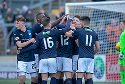 Raith Rovers Ross Matthews (12) celebrates after scoring their first goal. half time : Forfar Athletic 1 v 2 Raith Rovers, Scottish Football League Division One played 27/10/2018 at Forfar Athletic's home ground, Station Park, Forfar.
