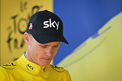 July 21, 2017 - Salon-De-Provence, FRANCE - British Chris Froome of Team Sky celebrates on the podium in the yellow jersey of leader in the overall ranking after the nineteenth stage of the 104th edition of the Tour de France cycling race, 222,5km from Embrun to Salon-de-Provence, France, Friday 21 July 2017. This year's Tour de France takes place from July first to July 23rd. BELGA PHOTO DAVID STOCKMAN (Credit Image: © David Stockman/Belga via ZUMA Press)