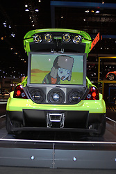 06 February 2005:    The Scion ic by five axis is a custom with a large video and audio studio built under the back hatch.<br /> <br /> First staged in 1901, the Chicago Auto Show is the largest auto show in North America and has been held more times than any other auto exposition on the continent.  It has been  presented by the Chicago Automobile Trade Association (CATA) since 1935.  It is held at McCormick Place, Chicago Illinois
