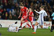 Rachel Rowe of Wales © goes past the tackle from Karina Zhumabaikyzy (L) and   Svetlana Bortnikova ® of Kazakhstan .Wales Women v Kazakhstan Women, 2019 World Cup qualifier match at the Cardiff City Stadium in Cardiff , South Wales on Friday 24th November 2017.    pic by Andrew Orchard