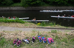 © Licensed to London News Pictures.13/06/15<br /> Durham, England<br /> <br /> Training shoes are left on the riverbank during the 182nd Durham Regatta rowing event held on the River Wear. The origins of the regatta date back  to commemorations marking victory at the Battle of Waterloo in 1815. This is the second oldest event of this type in the country and attracts over 2000 competitors from across the country.<br /> <br /> Photo credit : Ian Forsyth/LNP