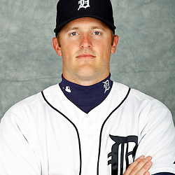 February 28, 2012; Lakeland, FL, USA; Detroit Tigers third baseman Danny Worth (29) poses for photo day in the rec room at the Detroit Tigers Headquarters.  Mandatory Credit: Derick E. Hingle-US PRESSWIRE