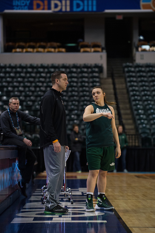 April 2, 2016; Indianapolis, Ind.; Jenna Buchanan talks to head coach Ryan McCarthy during their practice session at Bankers Life Fieldhouse.