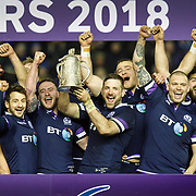Scotland react as they lift the Calcutta Cup after the  Six Nations Round 3 rugby match between Scotland and England at Murrayfield Stadium, in Edinburgh, Britain, 24 February 2018. EPA-EFE/ROBERT PERRY