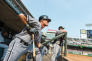 Gordon Beckham #15 of the Chicago White Sox looks on during a game against the Minnesota Twins on September 16, 2012 at Target Field in Minneapolis, Minnesota.  The White Sox defeated the Twins 9 to 2.  Photo: Ben Krause