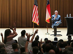 August 14, 2017 - Kennesaw, GA, USA - Opponents heckle Sen. Johnny Isakson, R - Ga., during his town hall meeting at Kennesaw State University on Monday, Aug. 14, 2017, in Kennesaw, Ga. (Credit Image: © Curtis Compton/TNS via ZUMA Wire)