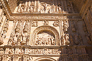 Detail of stone carving of Convent and church of San Esteban in Salamanca, Spain