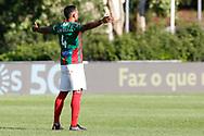 Lucas Áfrico prays during the Liga NOS match between Belenenses SAD and Maritimo at Estadio do Jamor, Lisbon, Portugal on 17 April 2021.