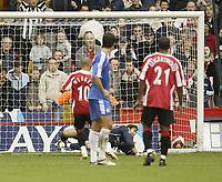 Photo: Aidan Ellis.<br /> Sheffield United v Chelsea. The Barclays Premiership. 28/10/2006.<br /> Chelsea keeper Henrique Hilario saves Danny Webber's penalty