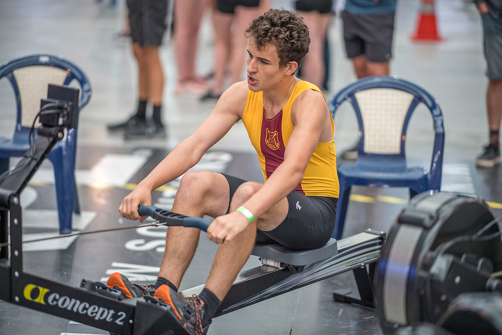 Josh Bailey-Montgonnery MALE HEAVYWEIGHT U16 2K Race #5 09:30am<br /> <br /> <br /> www.rowingcelebration.com Competing on Concept 2 ergometers at the 2018 NZ Indoor Rowing Championships. Avanti Drome, Cambridge,  Saturday 24 November 2018 © Copyright photo Steve McArthur / @RowingCelebration