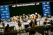 Shadow Indoor Percussion performs at the WGI Semi Finals at Miami University in Middletown, Ohio on April 10, 2014.