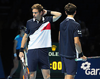 Tennis - 2018 Nitto ATP Finals at The O2 - Day Two<br /> <br /> Group Doubles Group Llodra/Santoro: Oliver Marach (AUT) & Mate Pavic (CRO) vs. Pierre - Hughes Herbert (FRA) & Nicolas Mahut (FRA)<br />  <br /> Nicolas Mahut struggles with an ankle injury<br /> <br /> <br /> COLORSPORT/ANDREW COWIE