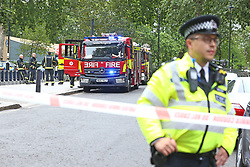 A fire engine near the Houses of Parliament, Westminster in central London, after a car crashed into security barriers outside the Houses of Parliament.
