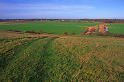 A07WT8 View from Burrow Hill over drained marshland looking towards Butley Suffolk England