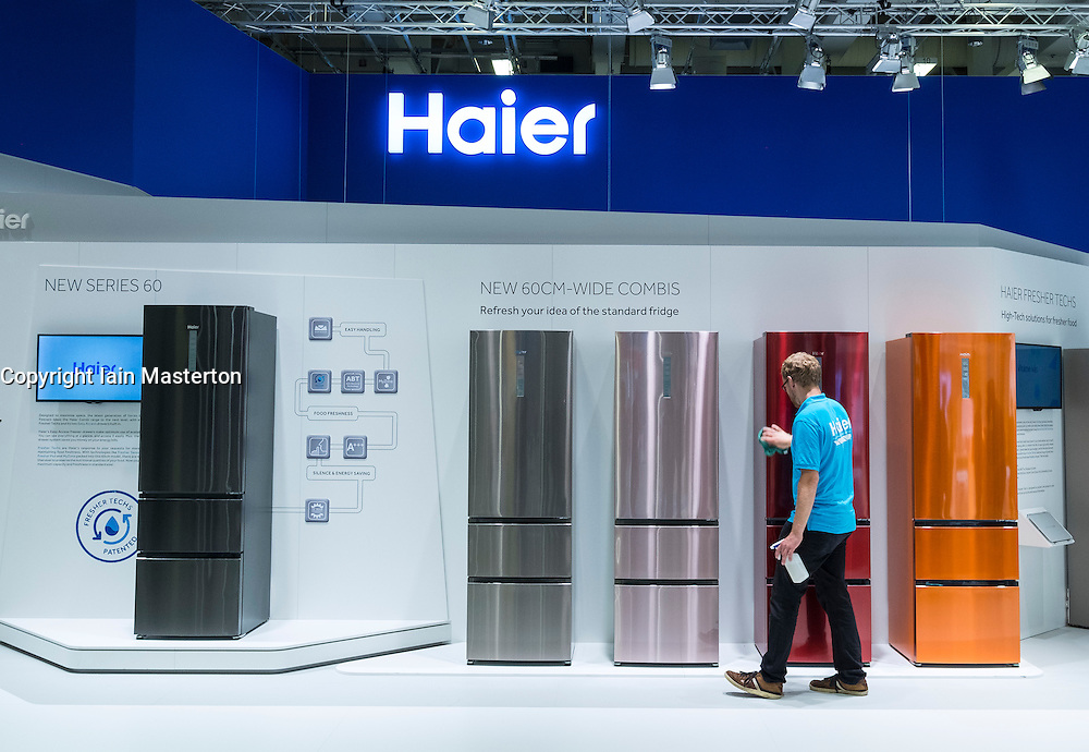 Cleaning coloured refrigerators by Haier at 2016  IFA (Internationale Funkausstellung Berlin), Berlin, Germany