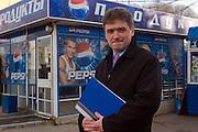 Moscow, Russia, 09/11/2007..Scenes at Pepsi branded kiosks outside Dynamo metro station. Pepsi Territorial Sales Manager Alexander Katsuk.