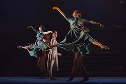 "© Licensed to London News Pictures. 01/04/2014. London, England. Pictured: World premiere of ""No Man's Land"" choreographed by Liam Scarlett. Dress rehearsal of the English National Ballet's programme ""Lest We Forget"" with dance inspired by the centenary of the Great War, Barbican Theatre, London. Award-winning British contemporary choreographers Akram Khan, Russell Maliphant and classical ballet choreographer Liam Scarlett have each been commissioned to create new work to reflect the moving and powerful impact of the First World War on those setting off to fight and those left behind. The programme is completed by George Williamson's re-worked Firebird. 2 - 12 April 2014. Photo credit: Bettina Strenske/LNP"