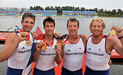 Shunyi, CHINA.   GBR M4-, Bow,  Tom JAMES, Steve WILLIAMS, Peter REED and Andy TRIGGS HODGE, at the 2008 Olympic Regatta, Shunyi Rowing Course.  Sat,.16.08.2008.  [Mandatory Credit: Peter SPURRIER, Intersport Images