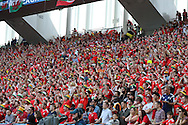 Wales football fans look on from the stands.Euro 2016, Wales v Slovakia at Matmut Atlantique , Nouveau Stade de Bordeaux  in Bordeaux, France on Saturday 11th June 2016, pic by  Andrew Orchard, Andrew Orchard sports photography.