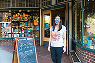 Jenny Cohen, owner of Waucoma Bookstore, standing outside her shop in downtown Hood River, Oregon