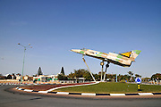 Israel, Beer Sheva, An Israeli made Kfir fighter aeroplane on a traffic circle in the city