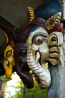 Nepalese puppets and masks are hand-made, with the carved, wooden faces usually originating in Bhaktapur, a local industry.