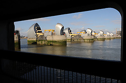 © Licensed to London News Pictures. 24/02/2014<br /> Low water levels on the river Thames this afternoon (24.02.2014) at the Thames Barrier. Photo credit :Grant Falvey/LNP