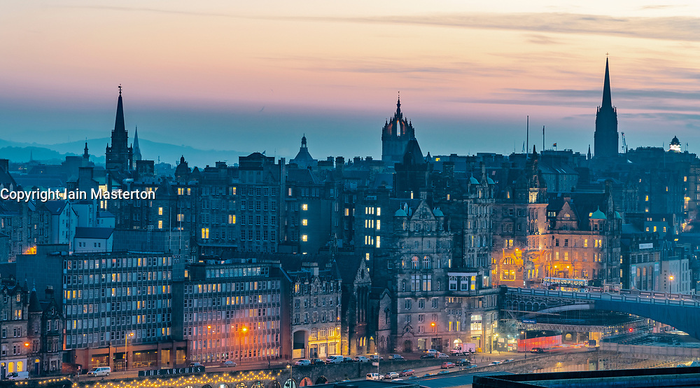 Edinburgh, Scotland, UK. 27 February, 2019. View at sunset over famous Edinburgh Old Town skyline from Calton Hill in Edinburgh , Scotland, UK