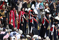 The Princess Royal (right), Duke of York (2nd right), Earl of Wessex (3rd right), Duke of Cambridge (4th right) and Prince of Wales (5th right) during the annual Order of the Garter Service at St George's Chapel, Windsor Castle.