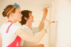 Profile of a young couple painting a white wall - close up