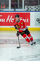 KELOWNA, BC - FEBRUARY 8: Jaydon Dureau #22 of the Portland Winterhawks warms up with the puck on the ice against the Kelowna Rockets at Prospera Place on February 8, 2020 in Kelowna, Canada. (Photo by Marissa Baecker/Shoot the Breeze)