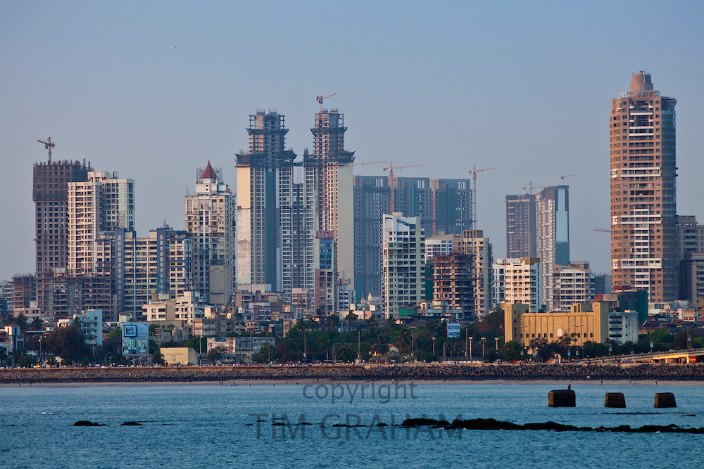Developing business district shows economic growth by Imperial twin towers in Tardeo South Mumbai, India from Nariman Point