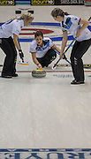 """Glasgow. SCOTLAND. Scotland's Vicki ADAMS, just after Guiding and releasing the """"Stone"""" over the """"Hog Line"""" at the Le Gruyère European Curling Championships. 2016 Venue, Braehead  Scotland<br /> Sunday  20/11/2016<br /> <br /> [Mandatory Credit; Peter Spurrier/Intersport-images]"""