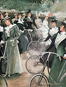 Society ladies cycling in Hyde Park, London. From 'Vanity Fair' London June 1896