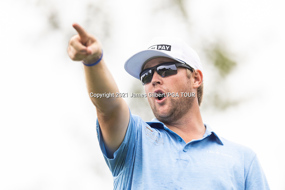 NEWBURGH, IN - SEPTEMBER 04: Trey Mullinax points on the 3rd hole during the third round of the Korn Ferry Tour Championship presented by United Leasing and Financing at Victoria National Golf Club on September 4, 2021 in Newburgh, Indiana. (Photo by James Gilbert/PGA TOUR via Getty Images)