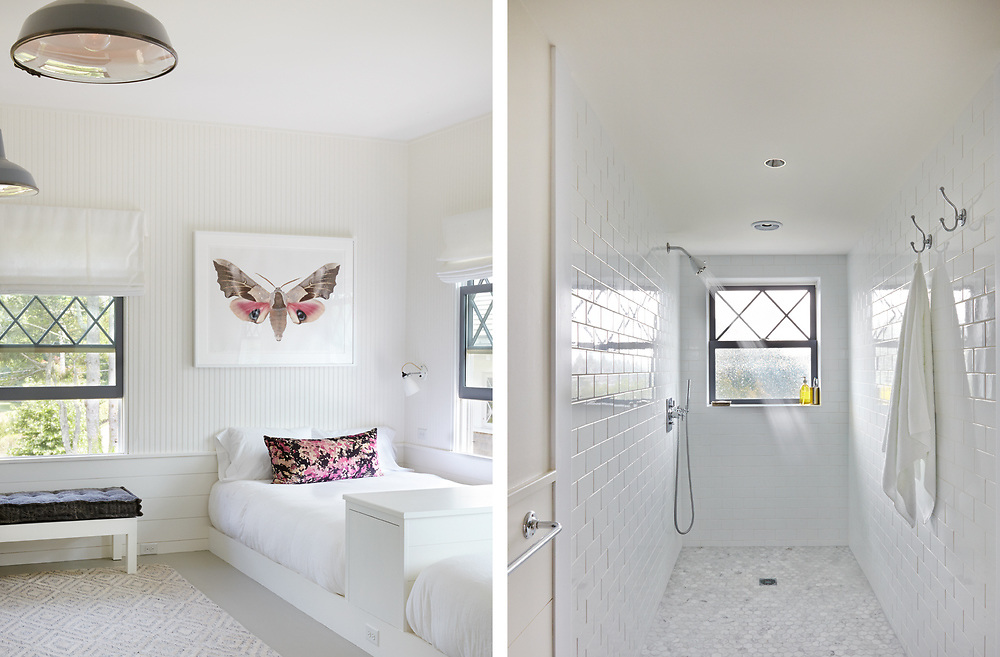 Guest Room and Walk In Shower of Rhode Island Coastal House. Architecture by Noury-Ello Architects. Interior Design by Christine Lane Interiors