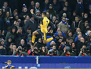 Alexis Sanchez of Arsenal celebrates scoring the opening goal during the English Premier League match at Goodison Park Stadium, Liverpool. Picture date: December 13th, 2016. Pic Simon Bellis/Sportimage