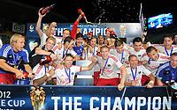 Fotball<br /> Tyskland<br /> 22.07.2012<br /> Foto: Witters/Digitalsport<br /> NORWAY ONLY<br /> <br /> Schlussjubel, vorn v.l. Per Ciljan Skjelbred, Marcus Berg, Artjoms Rudnevs, Jeffrey Bruma (HSV)<br /> Fussball, Hamburger SV, Trainingslager Suedkorea, Peace Cup, Finale, Seongnam Ilhwa FC - Hamburger SV 0:1
