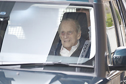 © Licensed to London News Pictures. 13/04/2018. London, UK. HRH PRINCE PHILIP, The Duke of Edinburgh is seen leaving King Edward VII Hospital following a hip operation. The Duke underwent an hour-long, planned operation on Wednesday last week at the private hospital in central London. Photo credit: Peter Macdiarmid/LNP