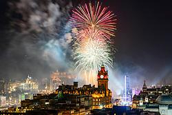 Fireworks over Edinburgh on new Year's Eve 31 December 2019, Scotland, UK