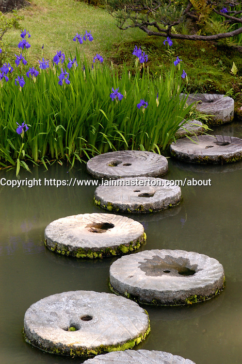 Stone steps at famous Isuien  Japanese garden in Nara japan