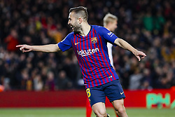 January 30, 2019 - Barcelona, Spain - FC Barcelona defender Jordi Alba (18) celebrates scoring the goal during the match FC Barcelona v Sevilla CF, for the round of 8, second leg of the Copa del Rey played at Camp Nou  on 30th January 2019 in Barcelona, Spain. (Credit Image: © Mikel Trigueros/NurPhoto via ZUMA Press)