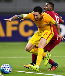 DOHA, Sept. 6, 2017  Zhang Linpeng (L) of China vies with Ismail Mohamad of Qatar during the 2018 FIFA World Cup Asian Zone Qualifiers between China and Qatar at the Khalifa International Stadium in Doha, Qatar, Sept. 5, 2017. China won 2-1. (Credit Image: © Nikku/Xinhua via ZUMA Wire)