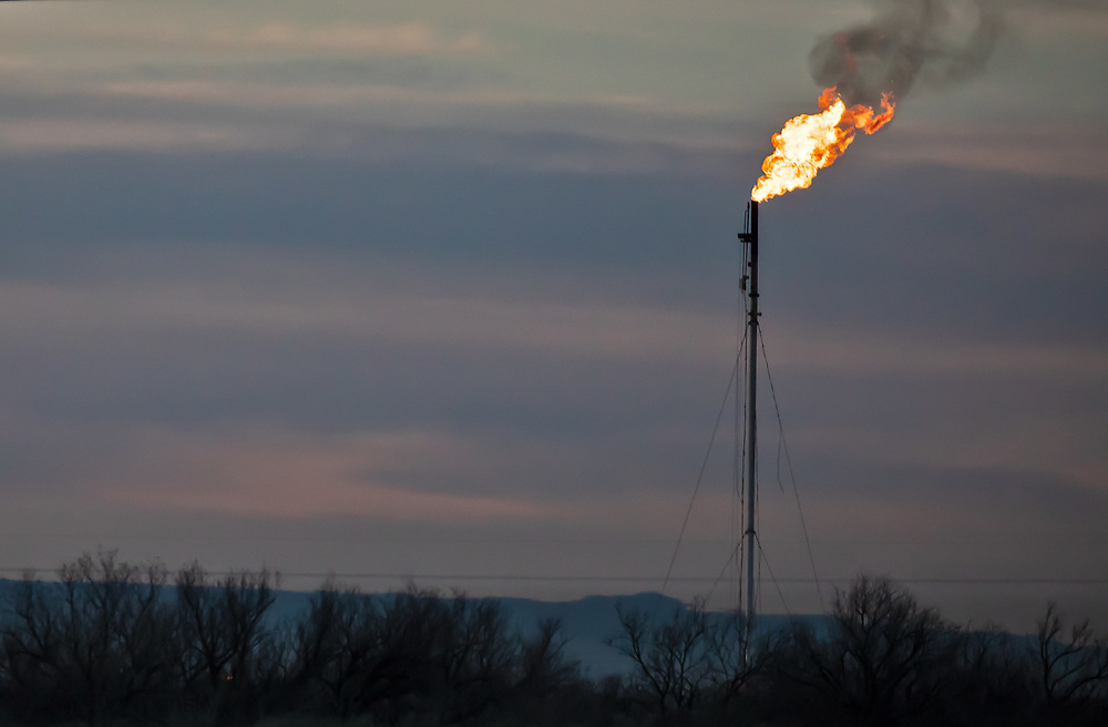 Flare at an oil and gas production site in the Permian Basin in Texas.