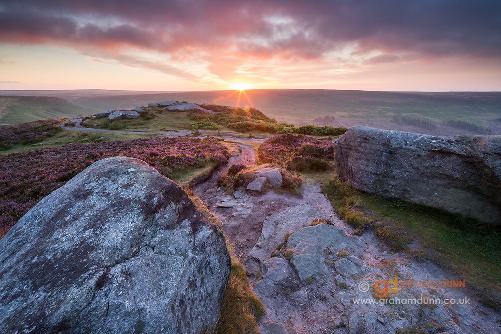 Colourful dawn skies pass over blossoming heather on Higger Tor in the Peak DIstrict. The sun is rising over Burbage Rocks in the distance. Landscape photography in Derbyshire, England. Summer, August, 2015.